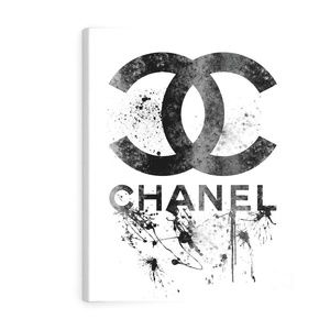 Black Chanel Logo Canvas Print with Frame